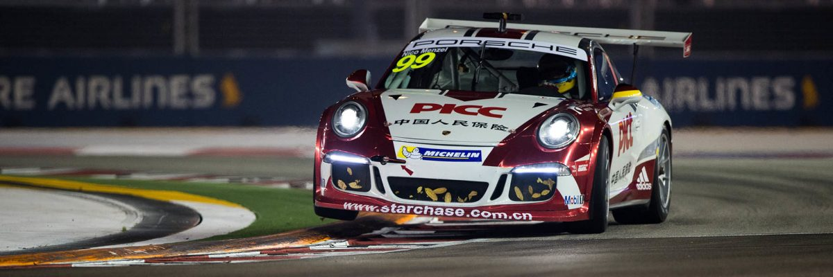Nico Menzel (GER) PICC Team StarChase at Porsche Carrera Cup Asia, Rds 11&12, Marina Bay Circuit, Singapore, 18-20 September 2015.